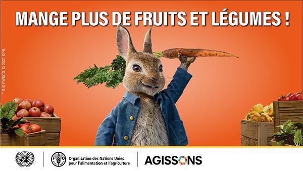"""Affiche de la FAO """"Mange plus de fruits et légumes !"""""""